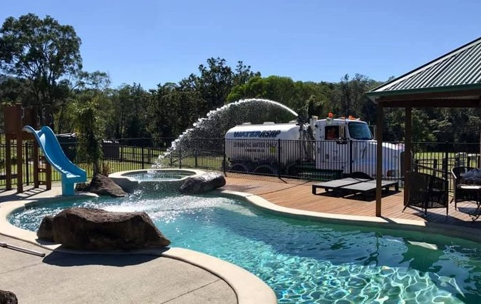 Long hose provides easy access for pool filling on the Gold Coast